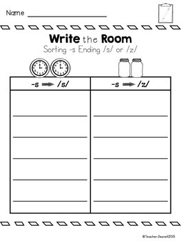 Sorting Plural -S Ending Sound - Write the Room