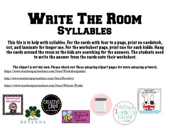 Write the Room- Syllables