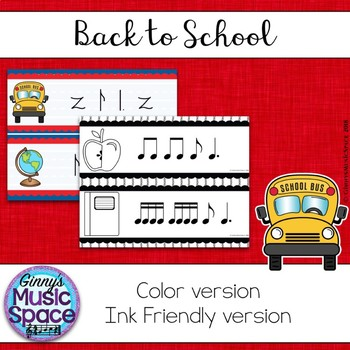 Back to School Rhythm Write the Room Ti Tam Kodaly