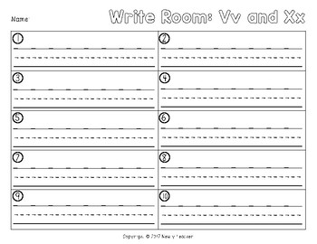 Write the Room - Vv and Xx