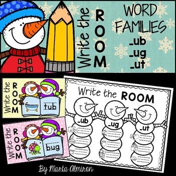 Write the Room {Winter} WORD FAMILIES UT, UG, UB