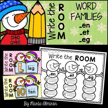 Write the Room {Winter} WORD FAMILIES en, et, eg