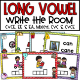 CVCe and EE and EA Long Vowel Write the Room Bundle #1