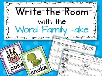 Write the Room: Word Family -ake