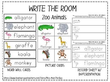 Write the Room: Zoo Animals