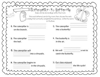 Write-the-Room base words and endings -s, -ed, -ing