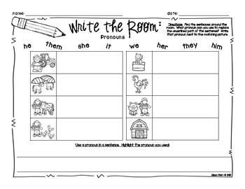 Write the Room for First Grade {Pronoun FREEBIE}