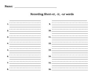 Write the Room or Scoot-er,ir, ur words