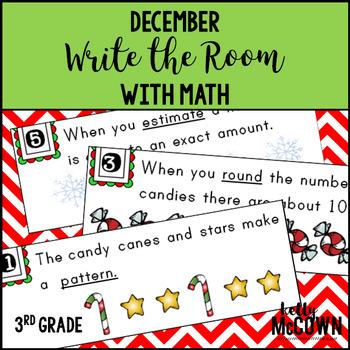 Math Write the Room December 3rd Grade   Math Centers 3rd Grade