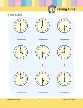 Write the Time (Hour, Half-hour)