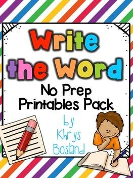 Write the Word Printables {No Prep} {Multiple Literacy Con