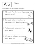 Write the Word that Completes the Sentence: Manuscript Handwriting Practice