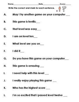 Write the correct end mark for each sentence.