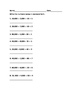 Math lesson- Write the numbers below in standard form.