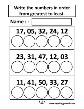 Maths - Greatest to Least - 12 Printable Worksheets.