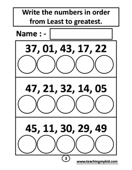 Maths - Least to Greatest - 12 Printable Worksheets.