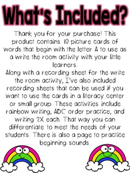 Write the room: Alphabet Letter A