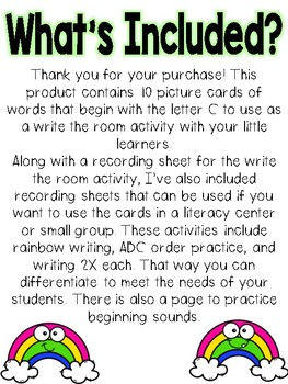 Write the room: Alphabet Letter C