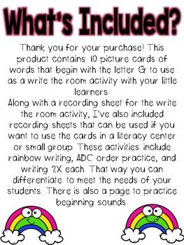 Write the room: Alphabet Letter G