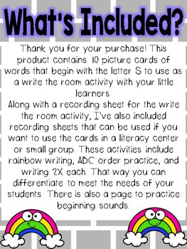 Write the room: Alphabet Letter S