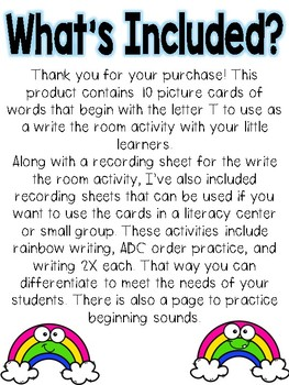 Write the room: Alphabet Letter T