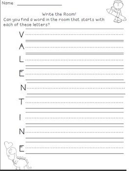 February Writing Activities / February Write the Room