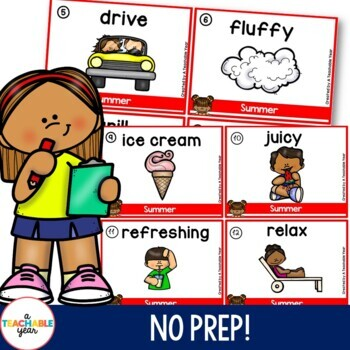 Summer Write the Room Activities for Parts of Speech | Nouns Verbs Adjectives