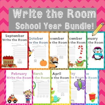 September Writing Activity Write the Room School Year Bundle