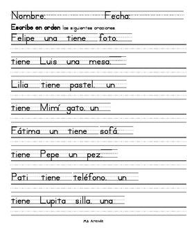 Write the scrambled sentences in order (In Spanish)