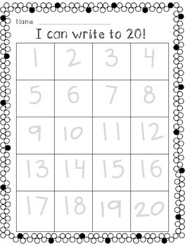Write to 20- Differentiated math printables