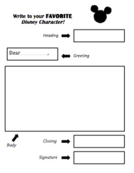 Write to your favorite Disney Character: Letter Graphic Organizer ...
