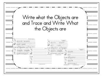 Write what the objects are and Trace Sheets