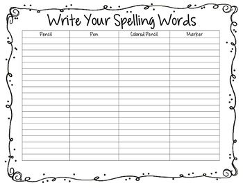 Write your Spelling Words