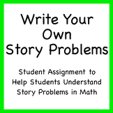 Write your own story problems (student math assignments)