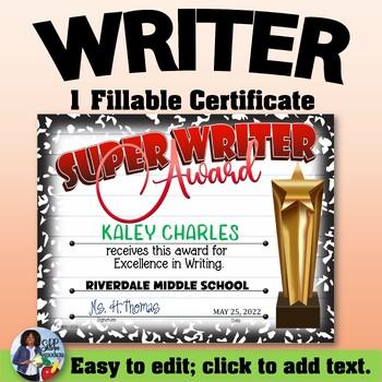 Writer Certificate 3