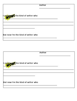 Writer Reflection form used with UOS