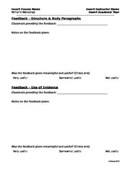 Writer Workshop Handout