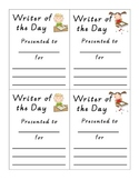 Writer of the Day Award Certificate Incentive