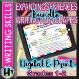 Digital Expanding Sentences and Writing Paragraphs BUNDLE Grades 1 and 2