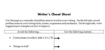 Writer's Cheat Sheet