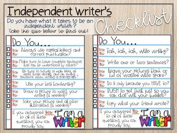 Writer's Checklist Work Mat