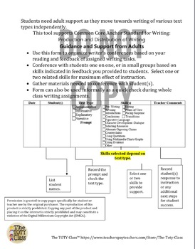 Writer's Conference Log Grades 6-12