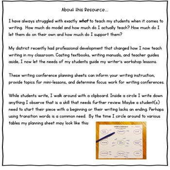 Writer's Conference Planning Sheet