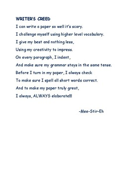 Writer's Creed for English LA