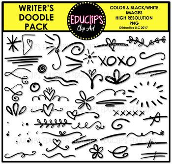 Writer's Doodle Clip Art Pack {Educlips Clipart}
