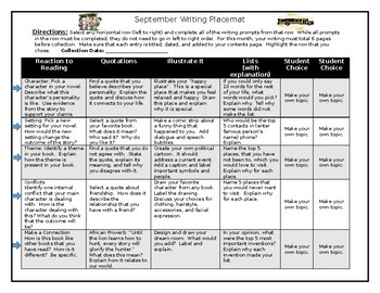 Writer's Notebook Writing Placemats