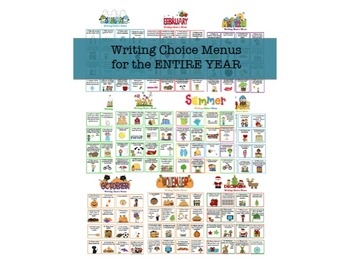 Writer's Notebook Choice Menus-The Complete Set!