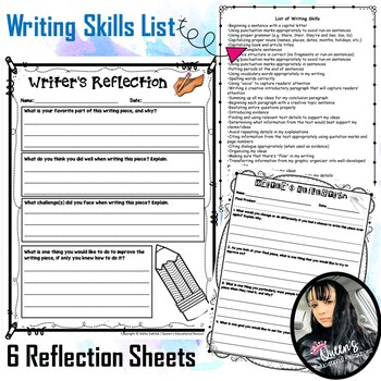 Writer's Reflection Sheets (3) and Skills List Sheet (1)