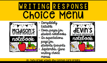 Writer's Response Choice Menu