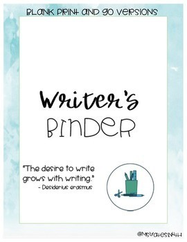 Student's Writer's Workshop Binder Cover, Spine, and Tab Labels EDITABLE